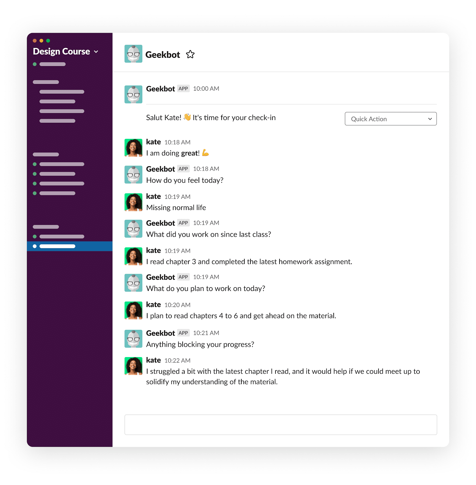 A conversation showing how remote learning it simplified by utilizing Geekbot.