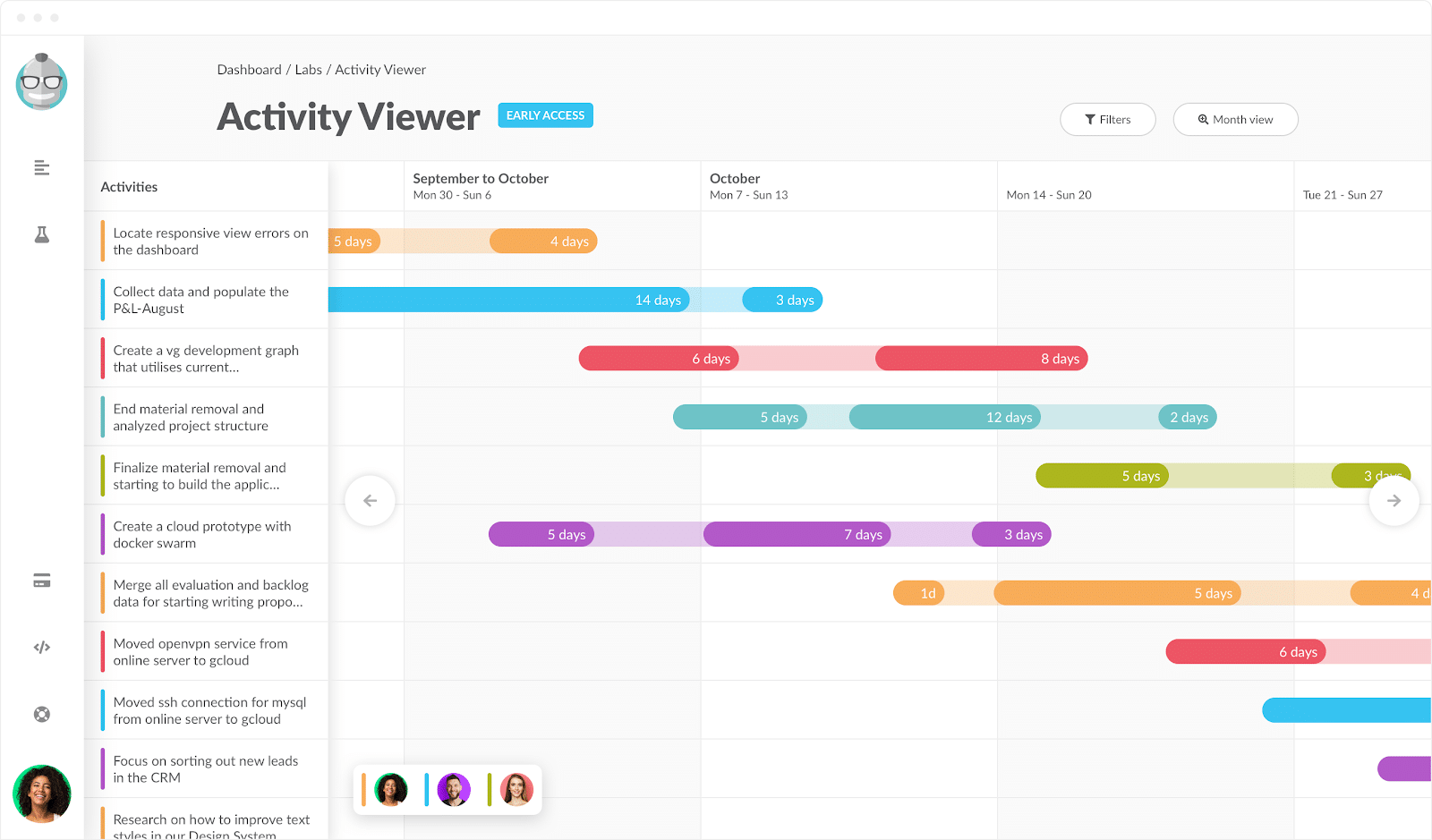Activity Viewer Month view 2
