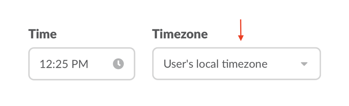 Drop down menu gives option to chose the user's local timezone