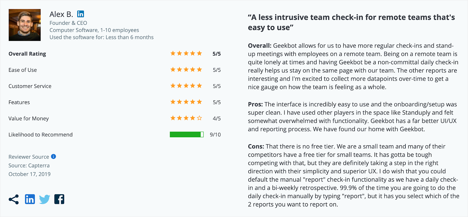 """A Geekbot review left on Capterra: """"A less intrusive team check-in for remote teams; easy to use"""""""