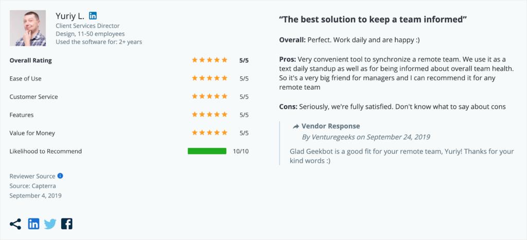 Geekbot capterra reviews