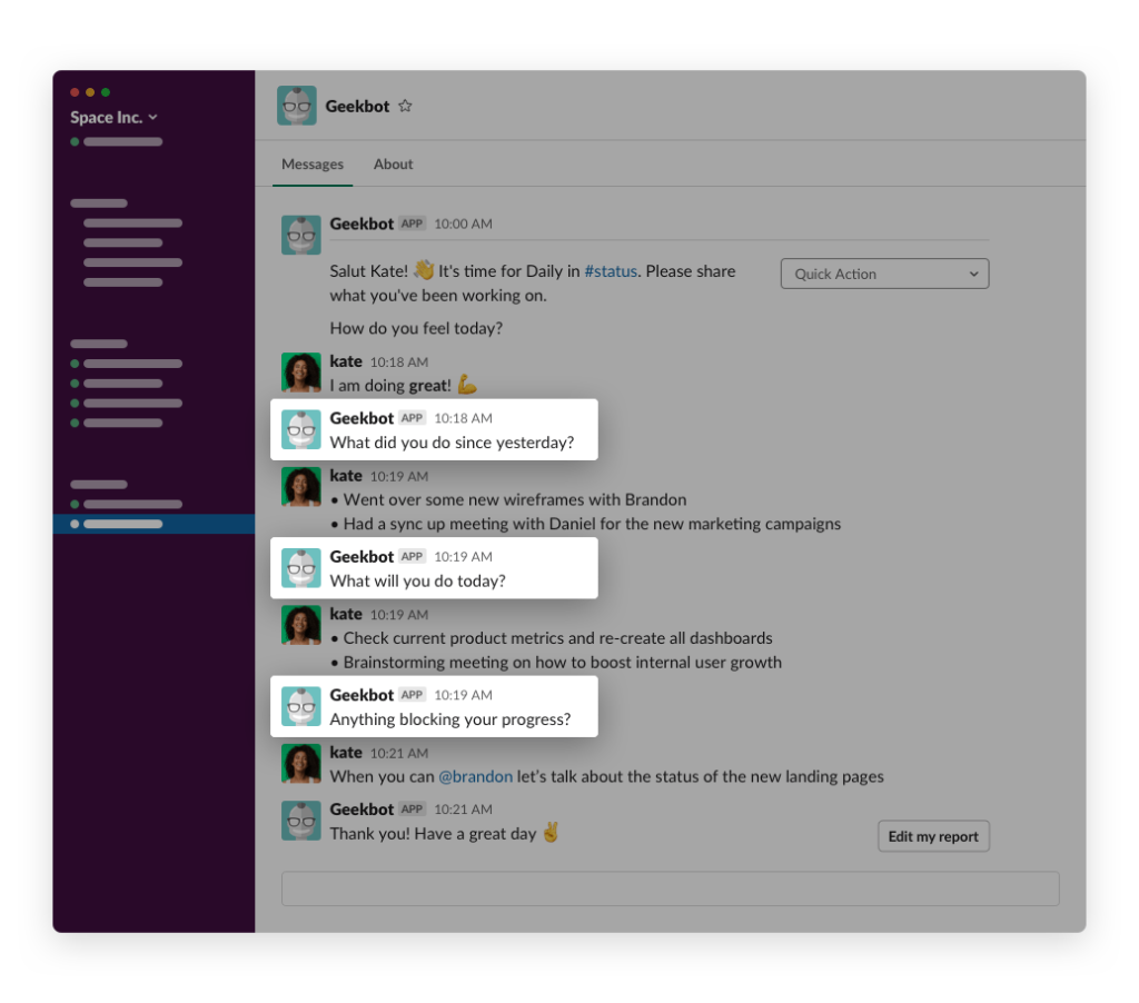Geekbot starts a chat with each team member to get answers to daily standup questions