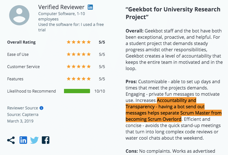 Geekbot review on Capterra: Accountability and Transparency
