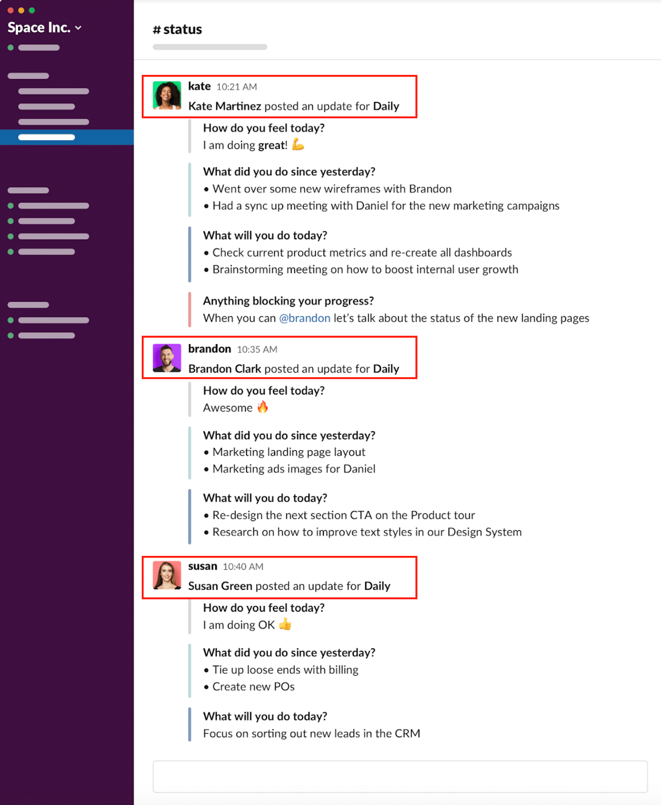 #Status: Get notified in Slack when a team member makes a daily update.