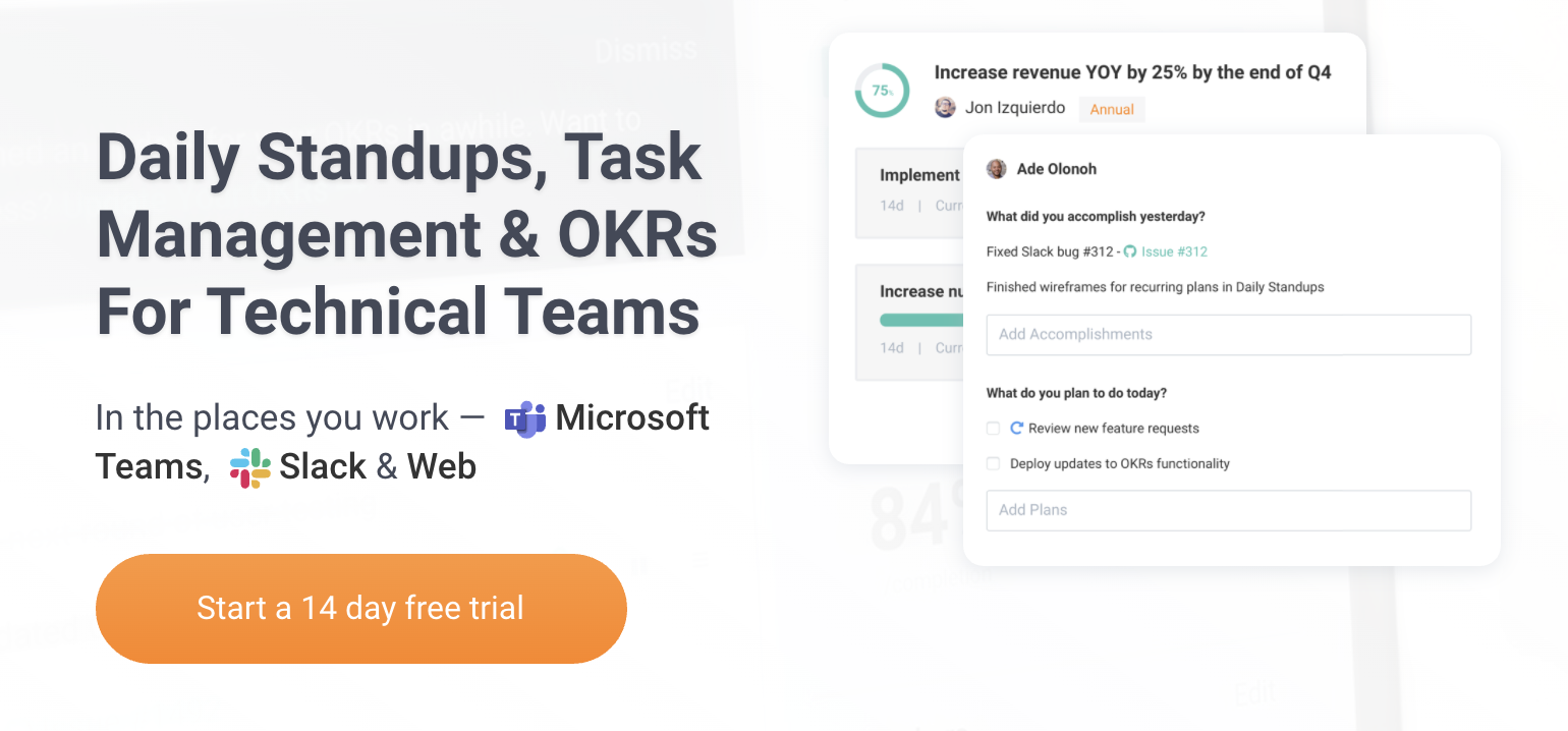 Jell's homepage: Daily standups, task management & OKRs for technical teams