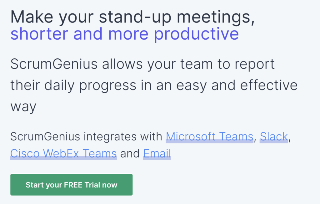 ScrumGenius homepage: Make your stand-up meetings shorter and more productive.