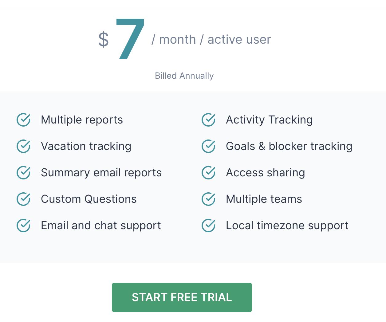 ScrumGenius pricing: $7/month/user