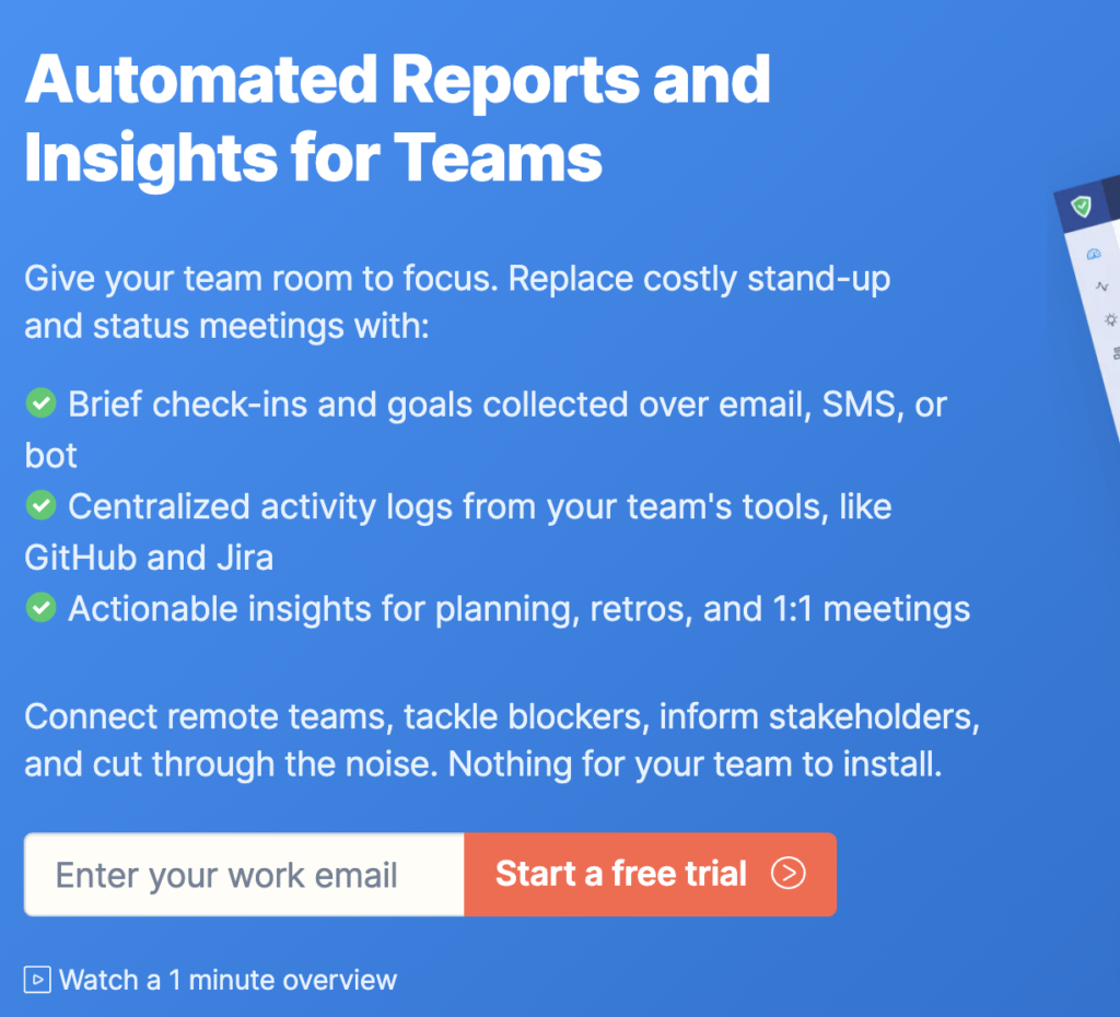Status Hero homepage: Automated Reports and Insights for Teams