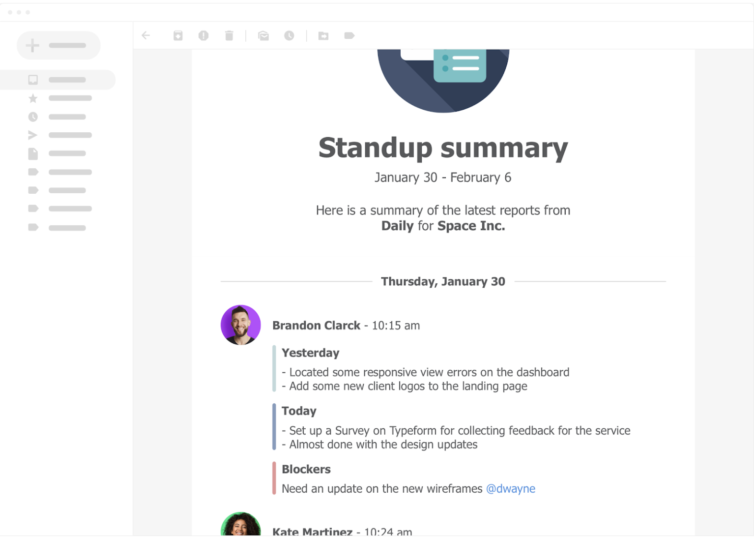 Standup Summary email for each week