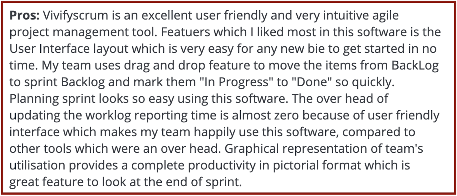 """VivifyScrum reviews on Capterra: """"user friendly, intuitive"""""""