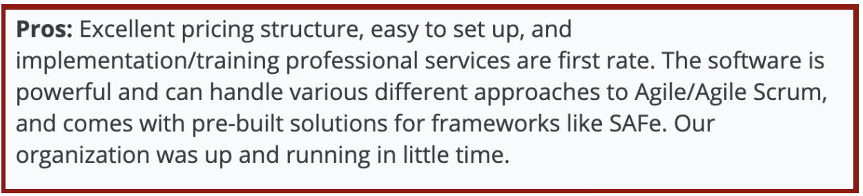 """TargetProcess reviews on Capterra: """"Excellent pricing structure, easy to set up and implement"""""""