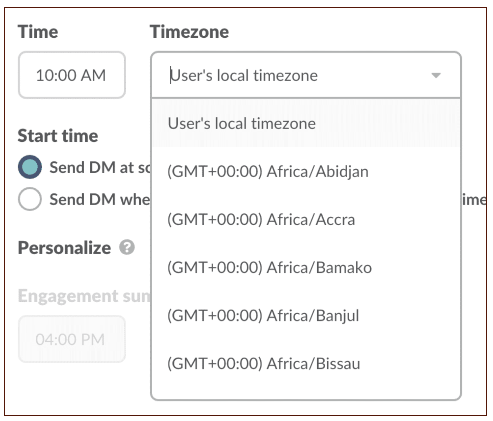 Time and Time Zone to send notification based on the users timezone.