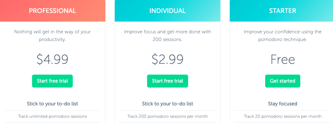 Professional, Individual, and Starter plans available: Ranging from Free to $4.99 per month.