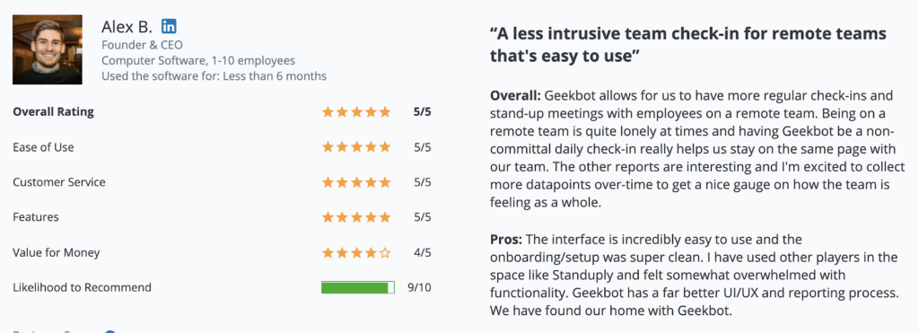 """Geekbot review: """"A less intrusive team check-in for remote teams that's easy to use"""""""
