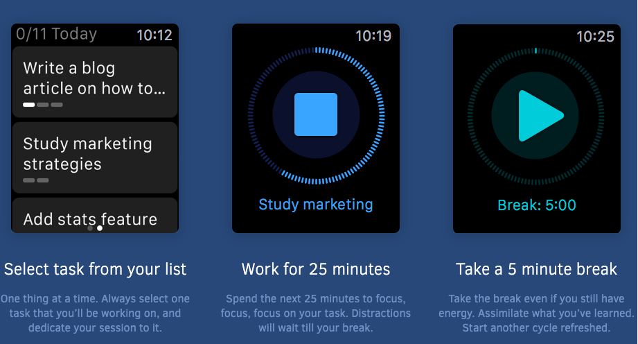 FocusList: Select a task from your list, Work for 25 minutes, Take a 5 minute break