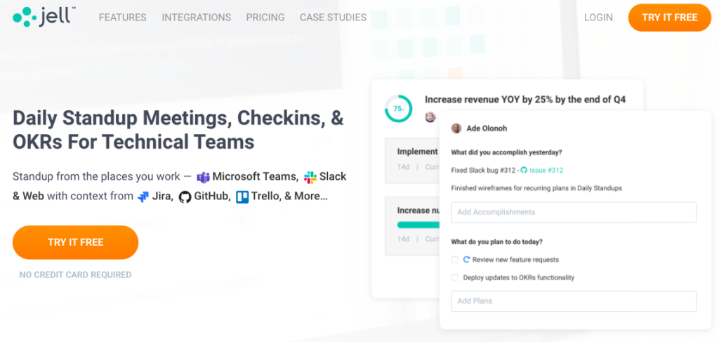 Jell homepage: Daily standup meetings, checkins, & OKRs for Technical Teams