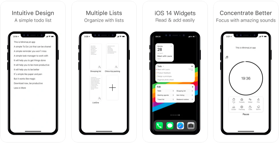 Minimalist: Intuitive Design (Simple Todo), Multiple Lists (Organize with Lists), iOs 14 Widgets (read and add easily), Concentrate Better (Focus with Amazing Sounds)
