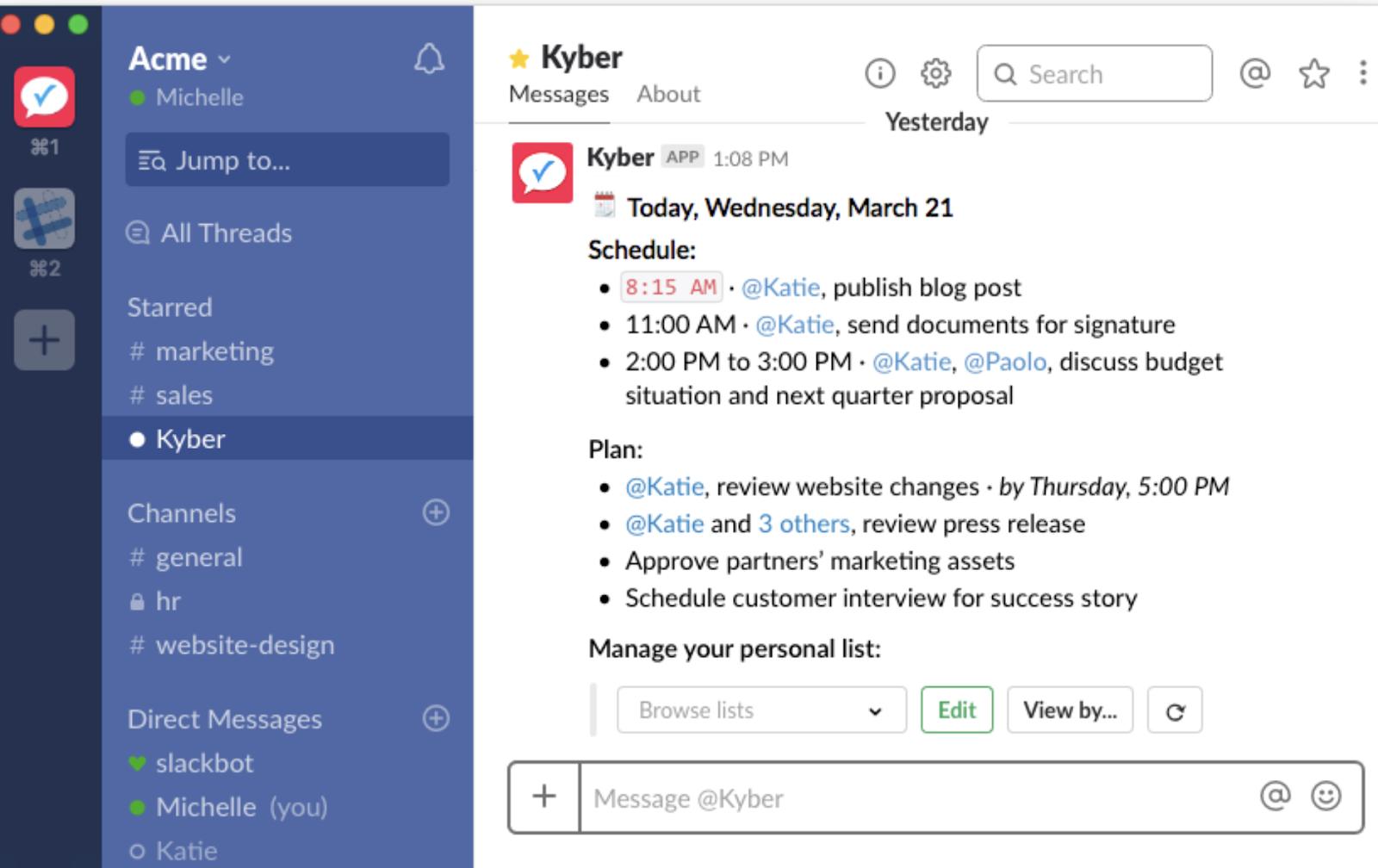 Kyber integrates with slack