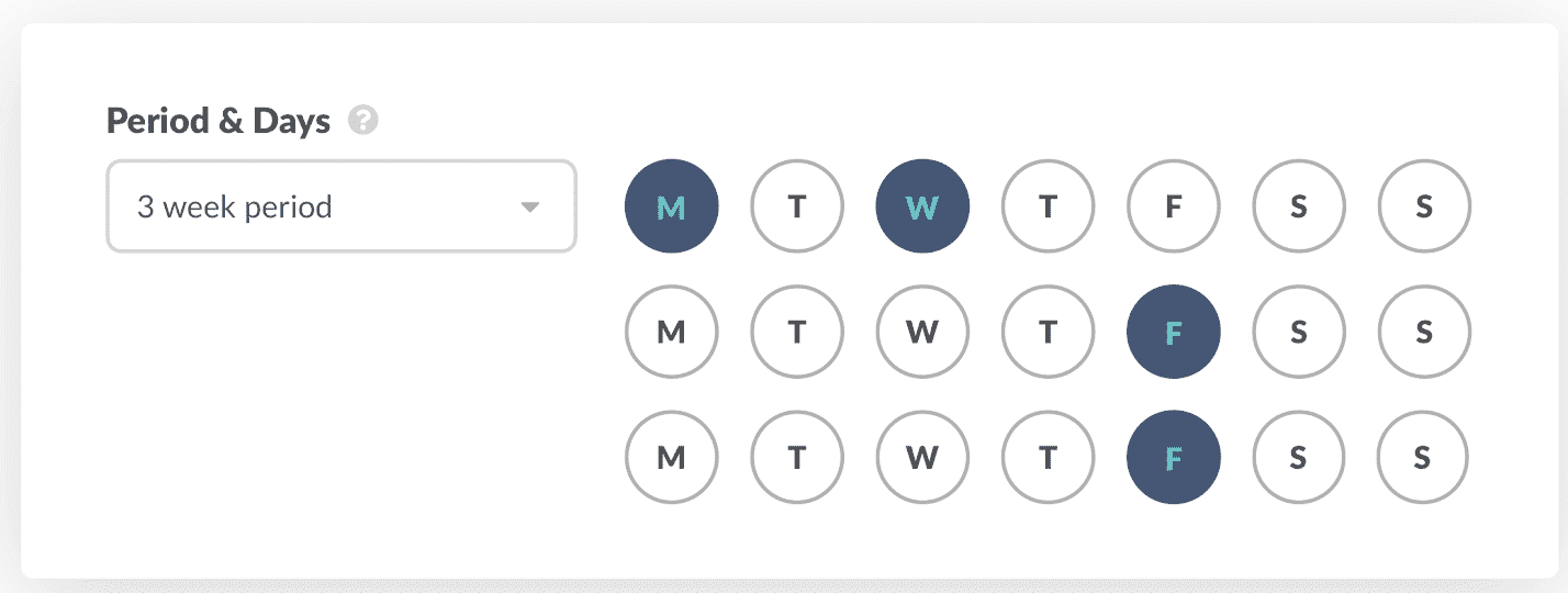 Period & Days: Automatically schedule when participants receive notifications from Geekbot