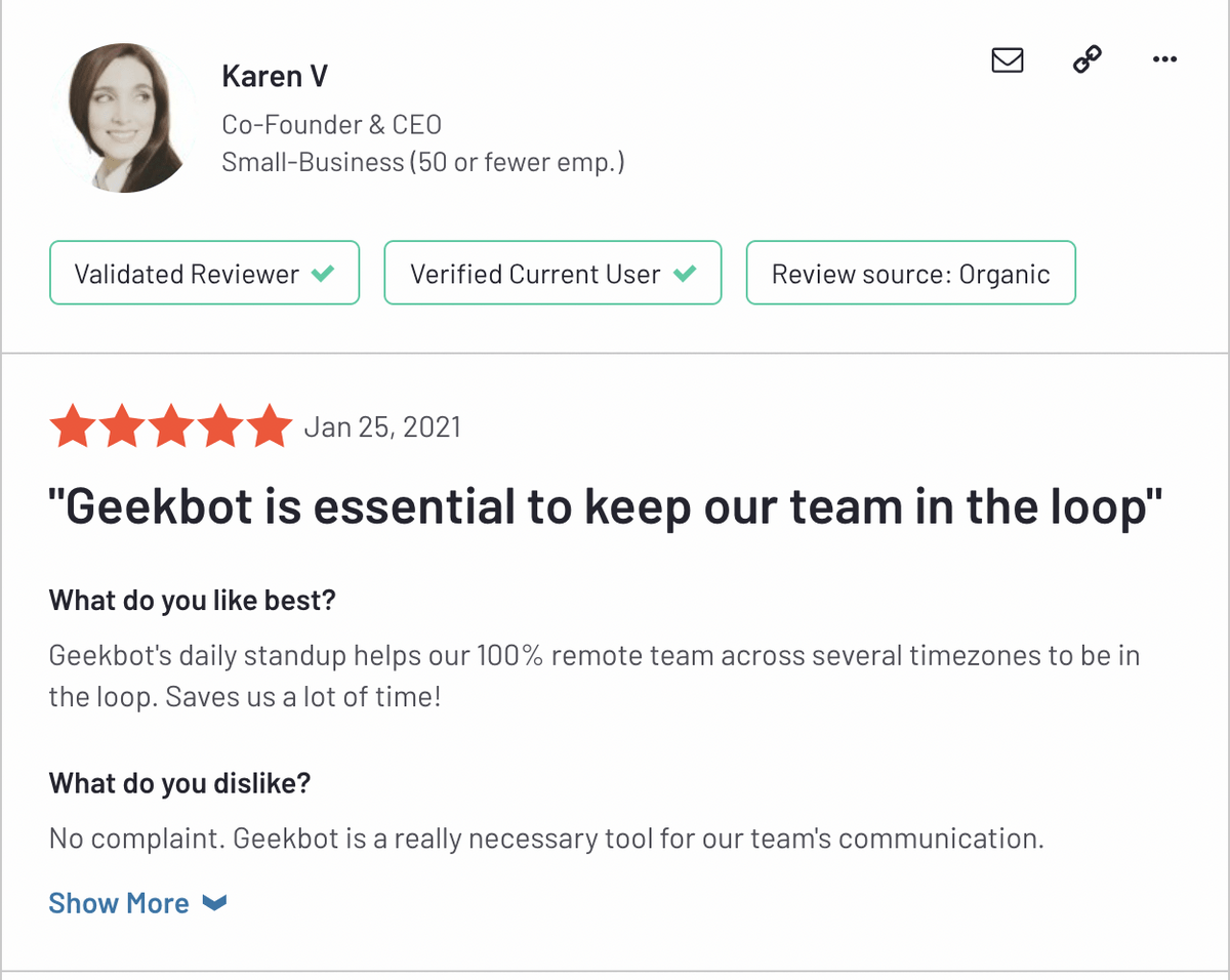 """Quote """"Geekbot is essential to keep our team in the loop"""""""