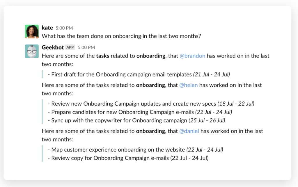 """""""What has the team done on onboarding in the last two months"""" (With a automatic list update from Geekbot)"""