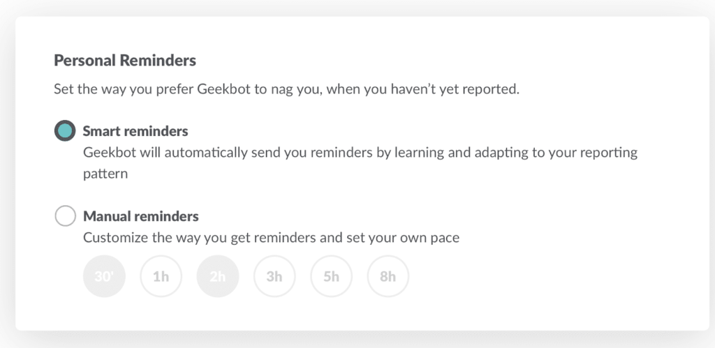 Personal reminders: Smart reminders and manual reminders are available.