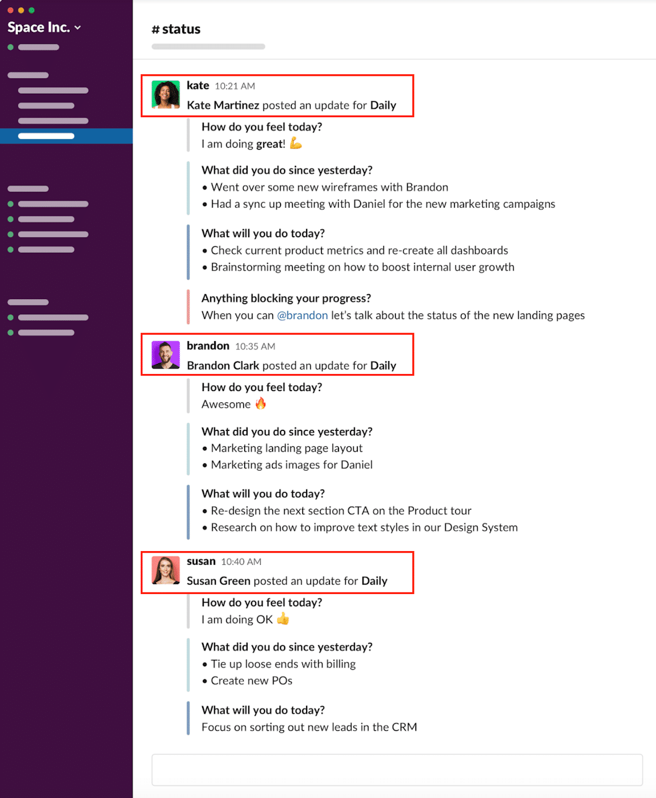 Get notified within the Slack channel whenever your coworkers respond with a daily update.