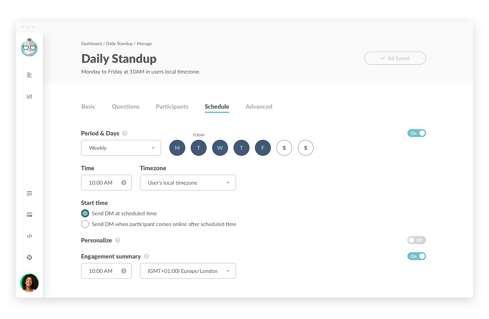 Daily Standup: Choose which days and times you'd like your team members to receive the standup questions.