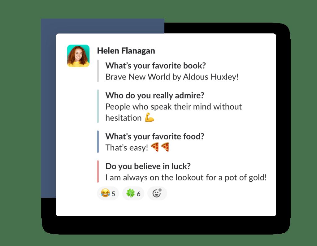 Example of random team-building questions