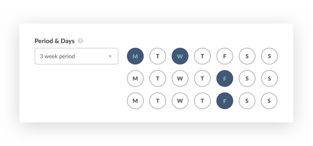 Select the period and days of recurring meetings