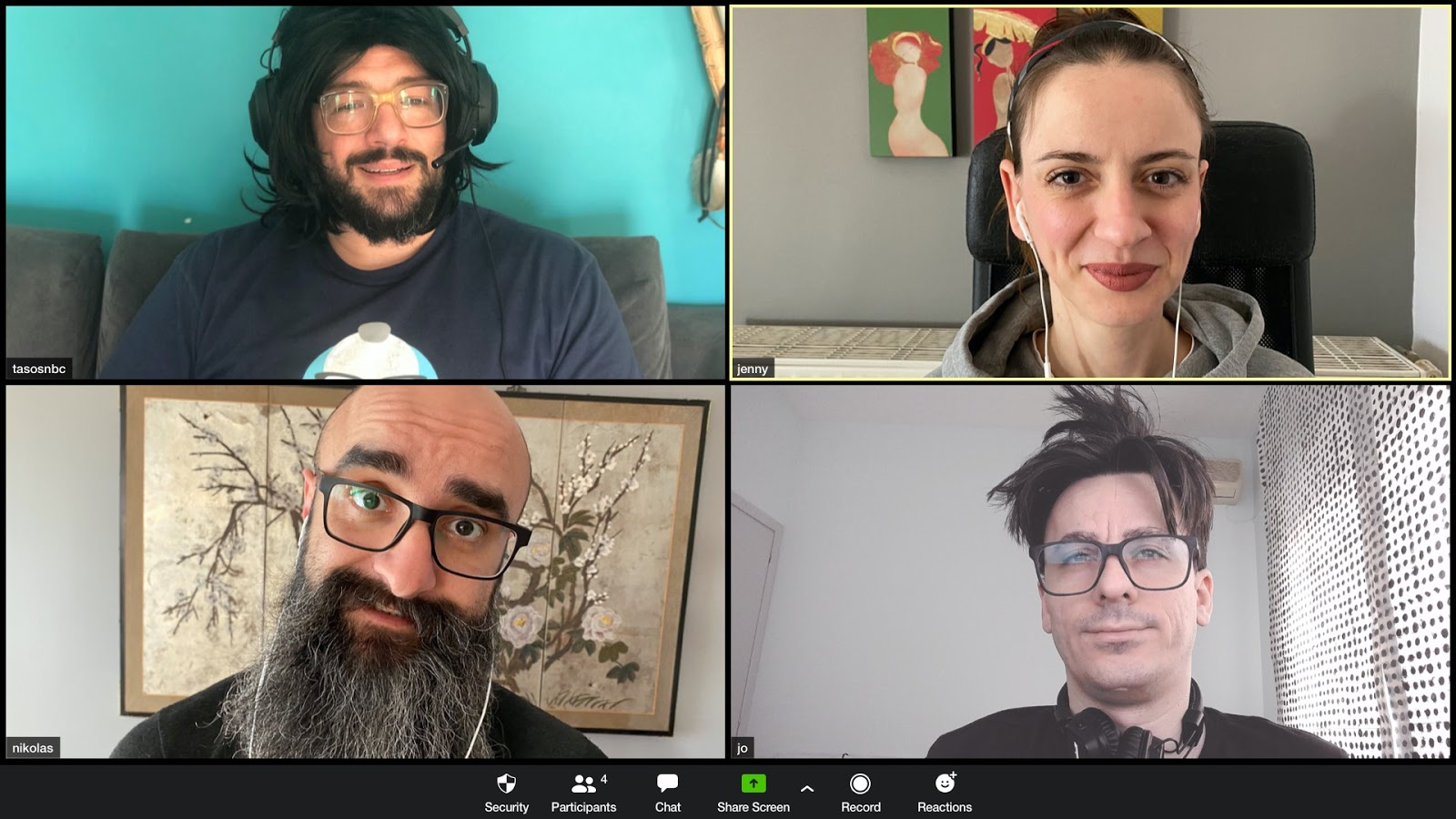 A preview of a zoom call with the Geekbot team.