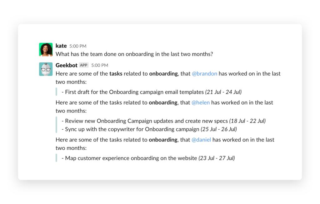 Geekbot conversational analytics DM with bot short