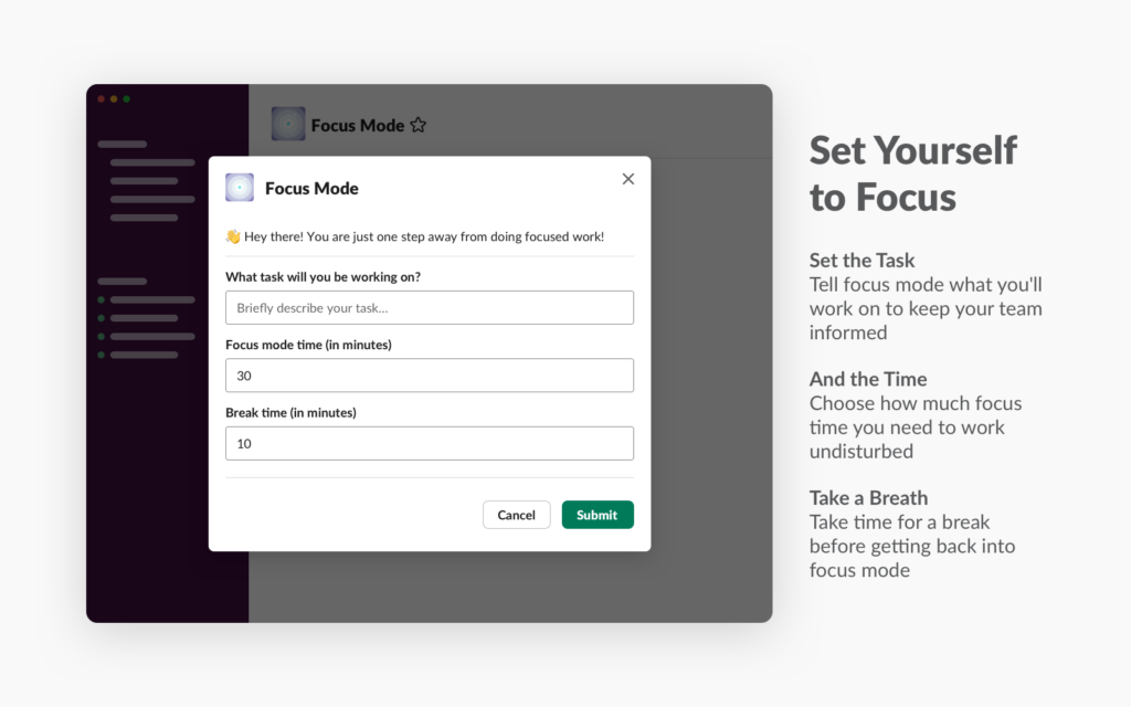 focus mode by geekbot pomodoro app in slack