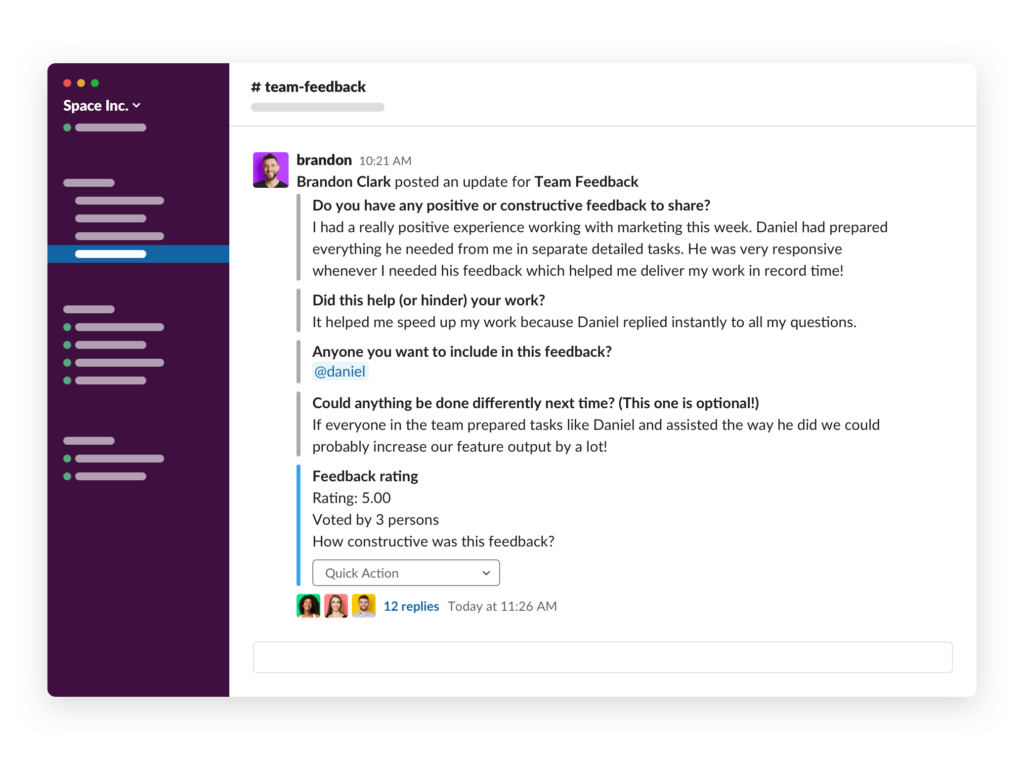 Slack report reaction Team Feedback