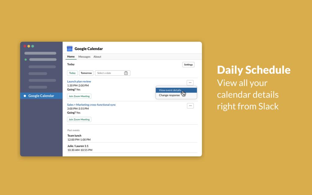 google calendar in slack