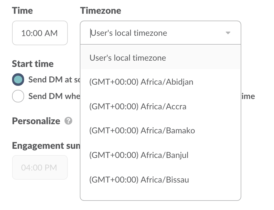 Send the message at a specific time or at the user's local time zone.