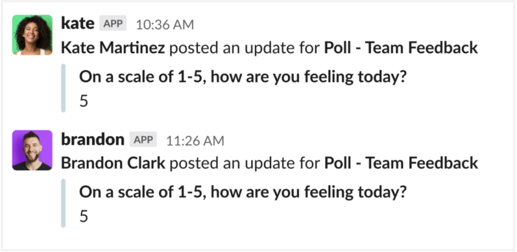 """Poll results: Kate Martinez and Brandon Clark posted an update for """"Poll-Team Feedback"""""""