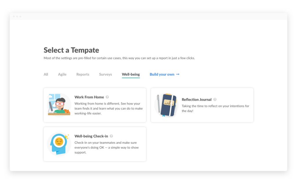 Templates page Wellbeing