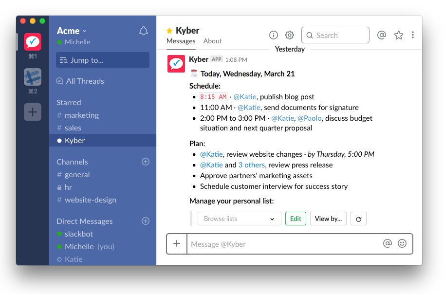 Kyber: Schedule, plan, manage your personal list.