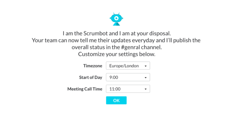 Scrumbot: Timezone, Start date, Call time