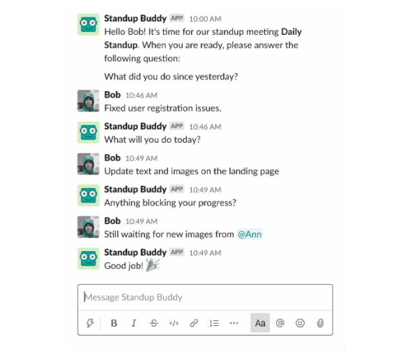 Standup Buddy: Automated questions