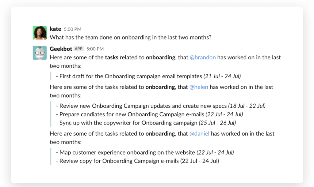 What has the team done in onboarding in the past two months?