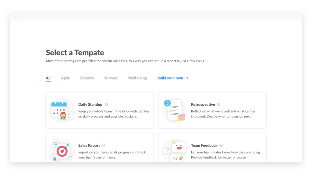 Templates page
