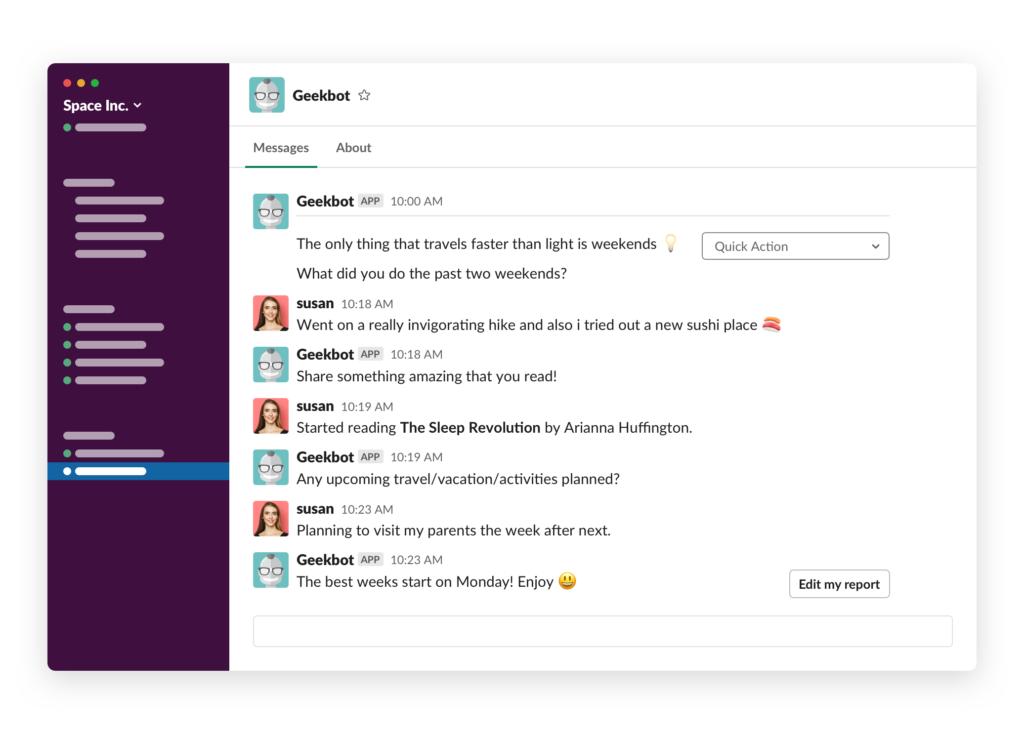 Slack standup DM with bot Fun Stuff copy